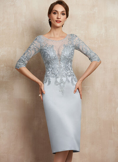 Sheath/Column Scoop Neck Knee-Length Satin Lace Cocktail Dress With Beading Sequins