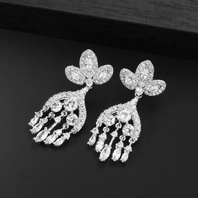 Ladies' Shining Copper/Platinum Plated Cubic Zirconia Earrings For Bride/For Bridesmaid