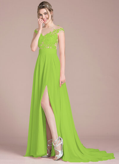 A-Line/Princess Scoop Neck Sweep Train Chiffon Prom Dresses With Split Front