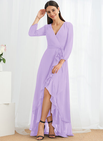 A-Line V-neck Asymmetrical Cocktail Dress With Ruffle Split Front