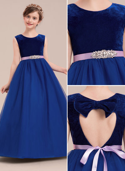 Ball Gown Floor-length Flower Girl Dress - Tulle Sleeveless Scoop Neck With Rhinestone