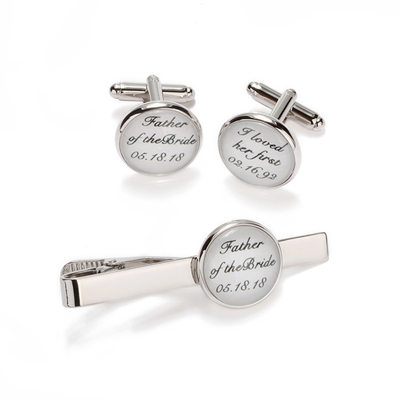Personalized Classic Alloy Glass Cufflinks Tie Clip