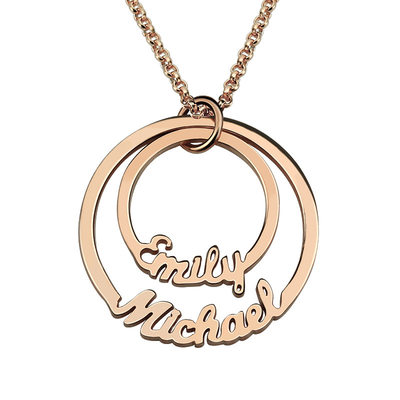 Personalized Ladies' Hottest Gold Plated/Silver Plated/Platinum Plated With Round Name Necklaces For Bride/For Mother