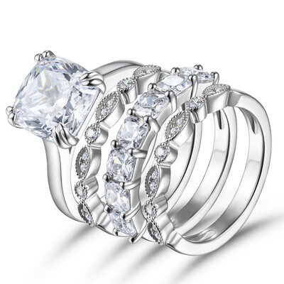 Milgrain Stackable Asscher Cut 925 Silver Bridal Sets