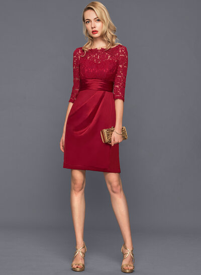Sheath/Column Scoop Neck Knee-Length Satin Cocktail Dress With Ruffle