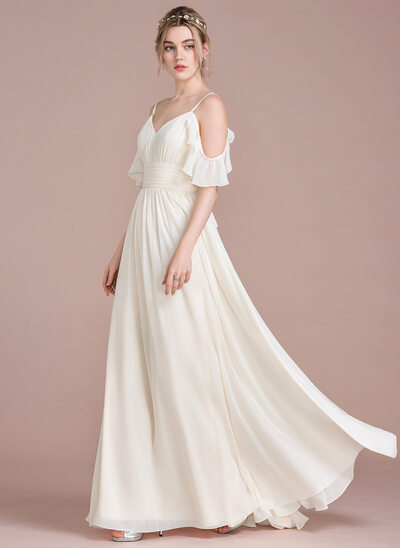 A-Line V-neck Floor-Length Chiffon Prom Dresses With Cascading Ruffles