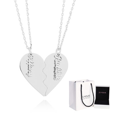 [Free Shipping]Custom Silver Overlapping Broken Heart Name Necklace Heart Necklace - Birthday Gifts Mother's Day Gifts (288221652)