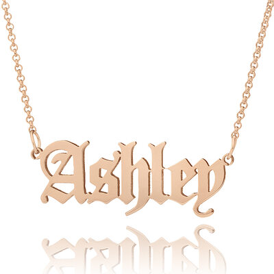 Custom 18k Rose Gold Plated Old English Name Necklace - Valentines Gifts