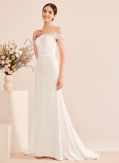 [Free Shipping]Trumpet/Mermaid Off-the-Shoulder Court Train Wedding Dress With Lace Sequins