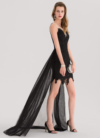 A-Line/Princess Scoop Neck Asymmetrical Prom Dress With Beading Sequins