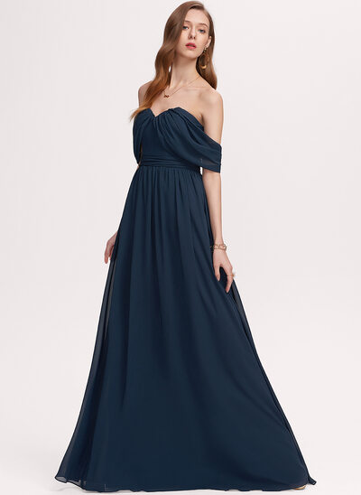 A-Line Off-the-Shoulder Floor-Length Chiffon Evening Dress With Ruffle