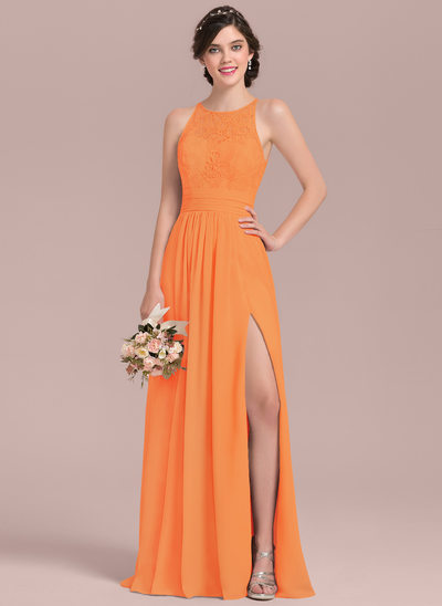 A-Line/Princess Scoop Neck Floor-Length Chiffon Lace Bridesmaid Dress With Ruffle Split Front