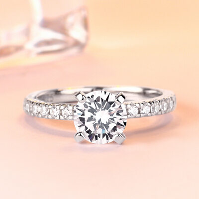 Sterling Silver Cubic Zirconia Dainty Halo Round Cut Engagement Rings Promise Rings