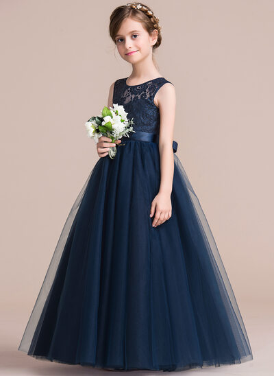 a88505922e1d A-Line Floor-length Flower Girl Dress - Satin/Tulle/Lace Sleeveless