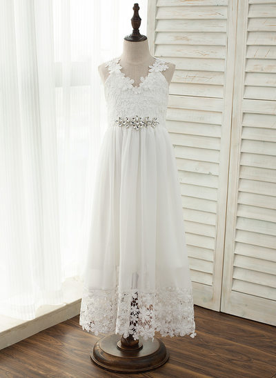 A-Line/Princess Floor-length Flower Girl Dress - Chiffon/Lace Sleeveless V-neck With Lace/Rhinestone