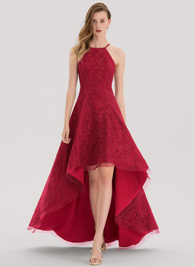 A-Line/Princess Square Neckline Asymmetrical Lace Prom Dress