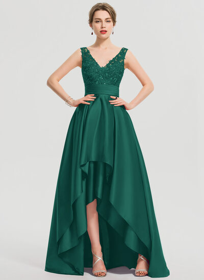 A-Line V-neck Asymmetrical Satin Prom Dresses