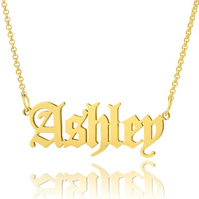 Custom 18k Gold Plated Old English Name Necklace - Valentines Gifts