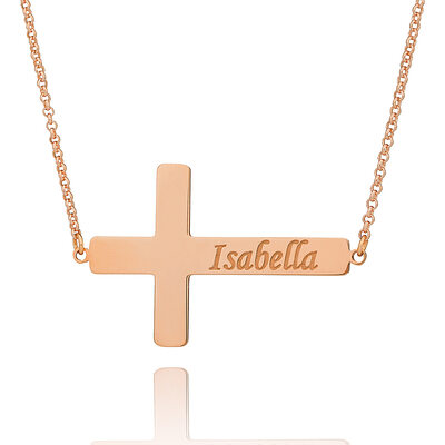 Christmas Gifts For Her - Custom 18k Rose Gold Plated Silver Religious Cross Meaning Engraved Necklace