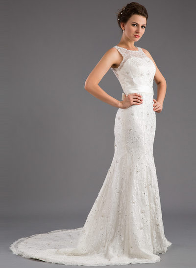 Trumpet/Mermaid Scoop Neck Court Train Lace Wedding Dress With Beading Sequins Bow(s)