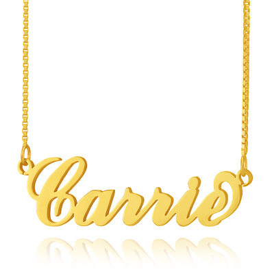 Custom 18k Gold Plated Silver 'Carrie' Style Name Necklace - Birthday Gifts Mother's Day Gifts