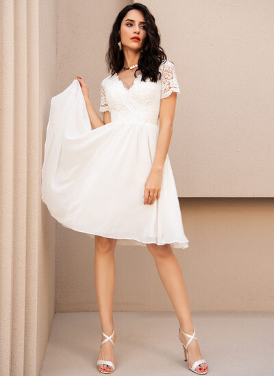 A-Line V-neck Knee-Length Chiffon Wedding Dress With Lace