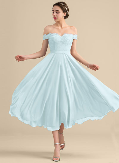 A-Line/Princess Off-the-Shoulder Tea-Length Chiffon Lace Homecoming Dress With Beading Sequins
