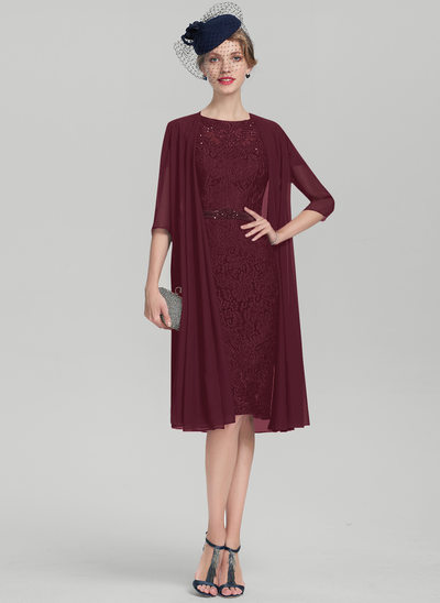 Sheath/Column Scoop Neck Knee-Length Charmeuse Lace Mother of the Bride Dress With Beading Sequins