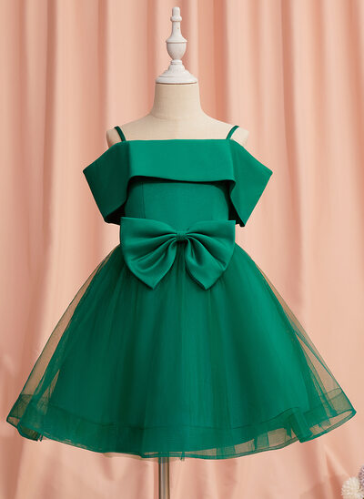 A-Line Knee-length Flower Girl Dress - Satin/Tulle Sleeveless Off-the-Shoulder With Bow(s)