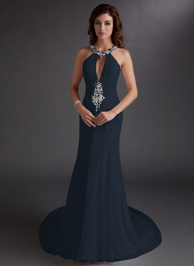 Trumpet/Mermaid Scoop Neck Chapel Train Chiffon Prom Dresses With Ruffle Beading Sequins