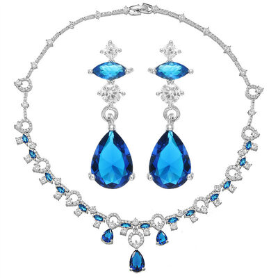 Ladies' Shining Copper/Platinum Plated With Pear Cubic Zirconia Jewelry Sets For Mother/For Friends
