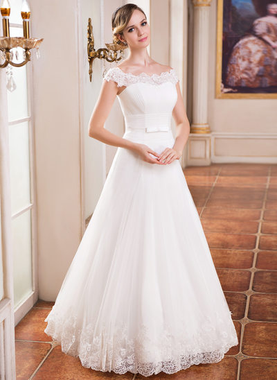 A-Line/Princess Off-the-Shoulder Floor-Length Tulle Wedding Dress With Ruffle Lace Beading Sequins