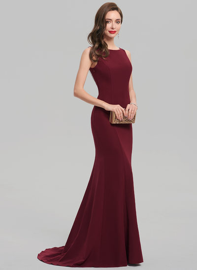 Trumpet/Mermaid Scoop Neck Sweep Train Satin Evening Dress With Beading