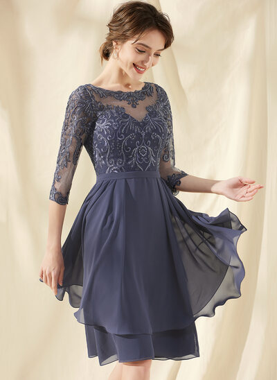 A-Line Scoop Neck Knee-Length Chiffon Lace Cocktail Dress With Sequins Cascading Ruffles