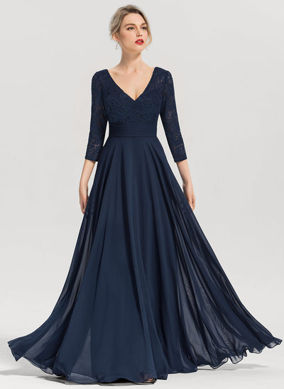 A-Line Princess V-neck Floor-Length Chiffon Evening Dress 62c158f426f6