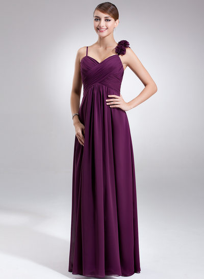 Empire Sweetheart Floor-Length Chiffon Maternity Bridesmaid Dress With Ruffle Flower(s)