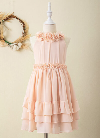 A-Line Knee-length Flower Girl Dress - Chiffon Sleeveless Scoop Neck With Flower(s)
