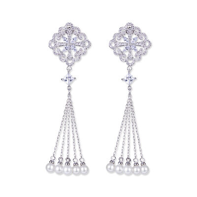 Ladies' Vintage Copper/Platinum Plated With Marquise Cubic Zirconia/Imitation Pearls Earrings For Bridesmaid/For Friends