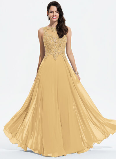 A-Line Scoop Neck Floor-Length Chiffon Prom Dresses With Lace Beading
