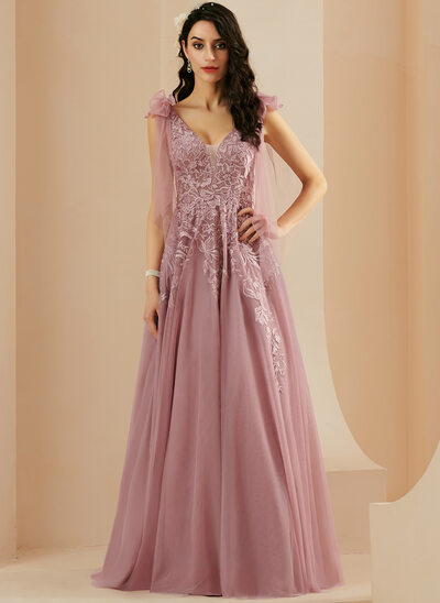 A-Line V-neck Floor-Length Tulle Prom Dresses With Lace Bow(s)