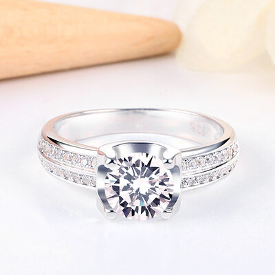 925 Sterling Silver With Round Cubic Zirconia Rings/Promise Rings/Stackable Rings