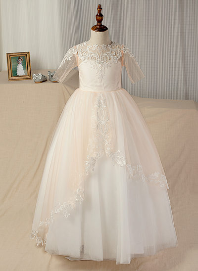 Ball Gown Floor-length/Court Train Flower Girl Dress - Satin/Tulle/Lace 1/2 Sleeves With Appliques