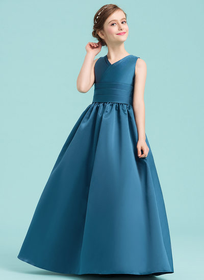 Ball-Gown/Princess V-neck Floor-Length Satin Junior Bridesmaid Dress With Ruffle