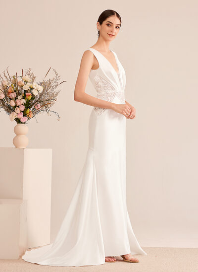 [Free Shipping]Trumpet/Mermaid V-neck Court Train Wedding Dress With Sequins