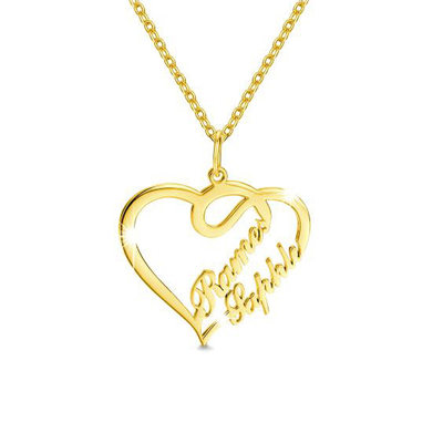 Custom 18k Gold Plated Two Name Necklace Heart Necklace - Valentines Gifts