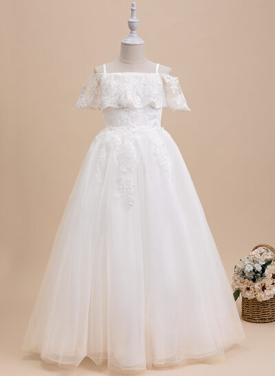 Ball-Gown/Princess Floor-length Flower Girl Dress - Short Sleeves Scalloped Neck