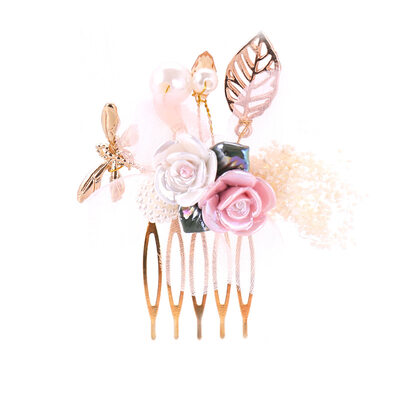 Ladies Pretty Alloy/Plastic Combs & Barrettes With Venetian Pearl