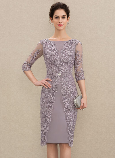 dffd60b0e154 Sheath/Column Scoop Neck Knee-Length Satin Lace Mother of the Bride Dress  With