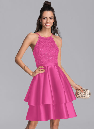 A-Line Scoop Neck Knee-Length Satin Homecoming Dress With Sequins
