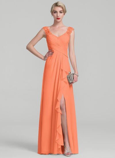 A-Line/Princess Floor-Length Chiffon Lace Mother of the Bride Dress With Split Front Cascading Ruffles
